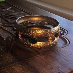 Large Bangle Bracelet with Glass Stones